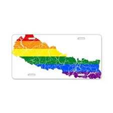 Nepal Rainbow Pride Flag And Map Aluminum License
