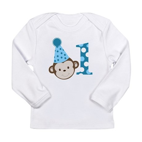 1st Birthday Cute Boy Monkey Blue Long Sleeve Infa