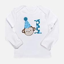 1st Birthday Cute Boy Monkey Blue Long Sleeve Infa
