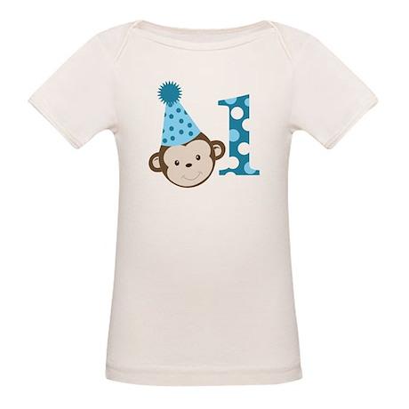 1st Birthday Cute Boy Monkey Blue Organic Baby T-S