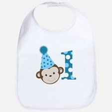 1st Birthday Cute Boy Monkey Blue Bib