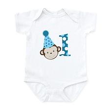 1st Birthday Cute Boy Monkey Blue Infant Bodysuit