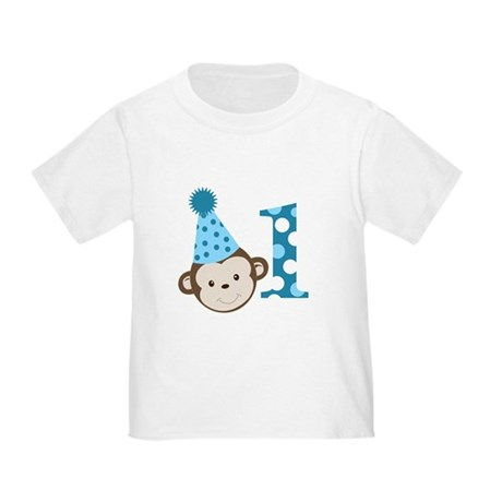 1st Birthday Cute Boy Monkey Blue Toddler T-Shirt
