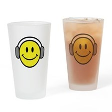 Smiley Face Music Lover Drinking Glass