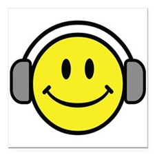 """Smiley Face Music Lover Square Car Magnet 3"""" x 3"""""""