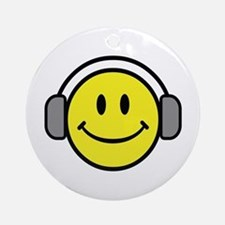 Smiley Face Music Lover Ornament (Round)