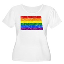 North Dakota Rainbow Pride Flag And Map T-Shirt
