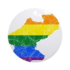 North Korea Rainbow Pride Flag And Map Ornament (R