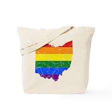 Ohio Rainbow Pride Flag And Map Tote Bag