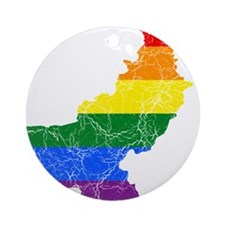 Pakistan Rainbow Pride Flag And Map Ornament (Roun