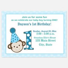 First Birthday Cute Boy Monkey Invitation