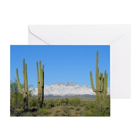 Snowy Four Peaks no Border Greeting Card