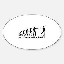 Evolution of man vs zombie Sticker (Oval)