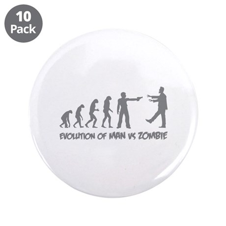 "Evolution of man vs zombie 3.5"" Button (10 pack)"