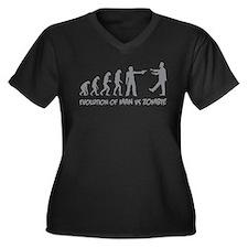 Evolution of man vs zombie Women's Plus Size V-Nec