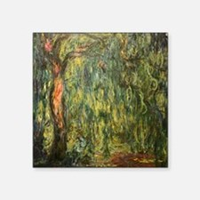 "Monet weeping Willow (Detail) Square Sticker 3"" x"