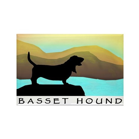 basset hound by the sea Rectangle Magnet