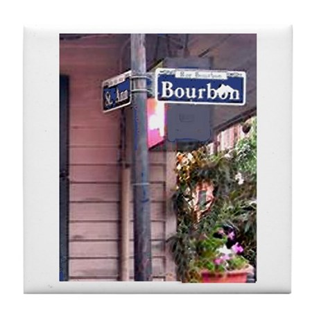 Bourbon Street Sign Tile Coaster