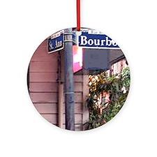 Bourbon Street Sign Ornament (Round)