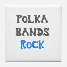 Polka Bands Rock Tile Coaster