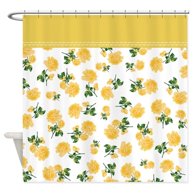 Yellow Flowers On White Shower Curtain By InspirationzStore