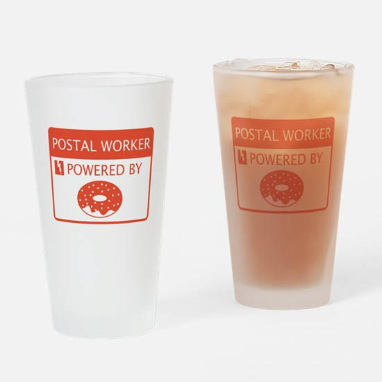 Postal Worker Powered by Doughnuts Drinking Glass