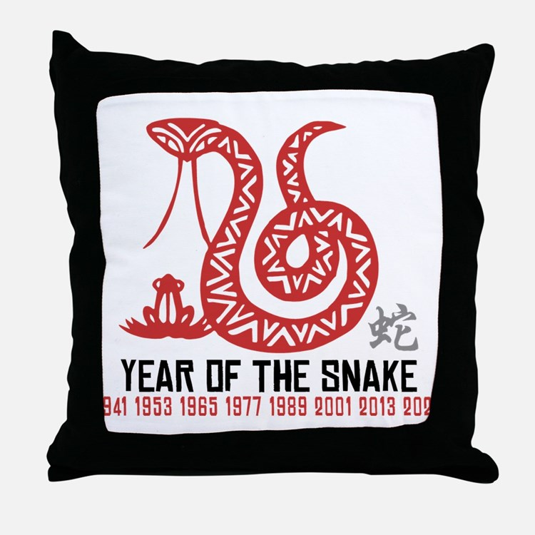Chinese Paper Cut Year of The Snake Throw Pillow
