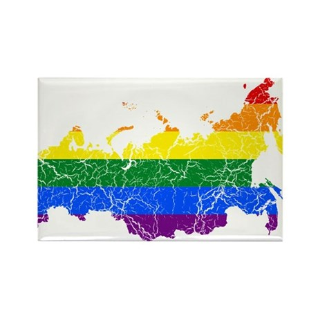 Russia Rainbow Pride Flag And Map Rectangle Magnet