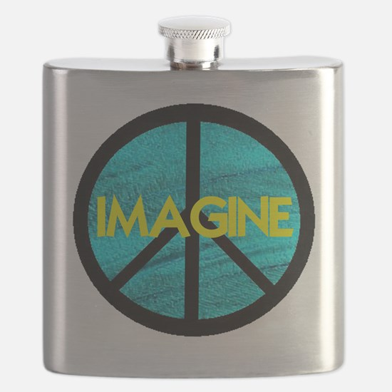 IMAGINE with PEACE SYMBOL.psd Flask