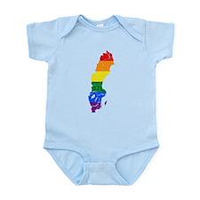 Sweden Rainbow Pride Flag And Map Infant Bodysuit