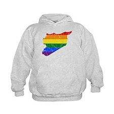Syria Rainbow Pride Flag And Map Hoodie