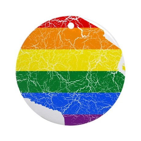 Tanzania Rainbow Pride Flag And Map Ornament (Roun