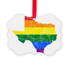 Texas Rainbow Pride Flag And Map Ornament