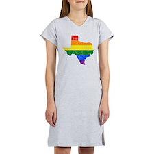 Texas Rainbow Pride Flag And Map Women's Nightshir