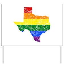Texas Rainbow Pride Flag And Map Yard Sign