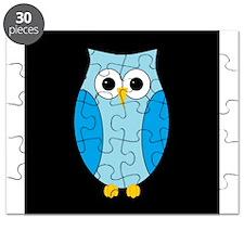 Blue Hoot Owl Black Background Puzzle