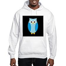 Blue Hoot Owl Black Background Hoodie