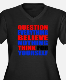 Question Everything Women's Plus Size V-Neck Dark
