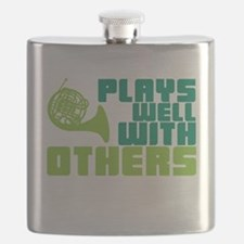 French Horn Plays Well Flask