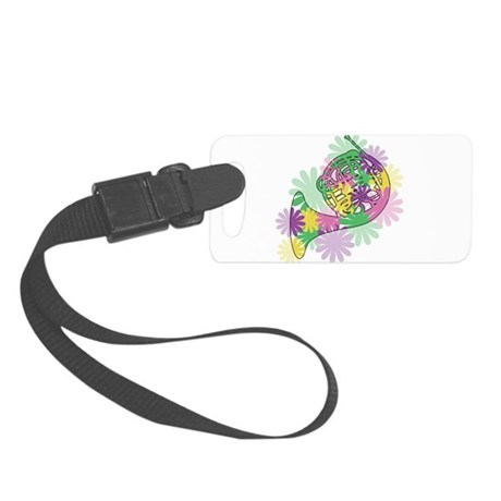 flower_horn3_black.png Small Luggage Tag