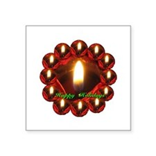 Happy Holidays Rose Candle Wreath Square Sticker 3