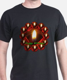Happy Holidays Rose Candle Wreath T-Shirt