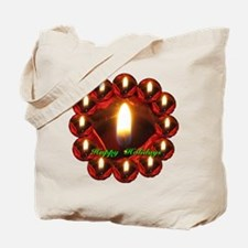 Happy Holidays Rose Candle Wreath Tote Bag