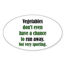 Vegetables Run Away Oval Decal