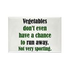 Vegetables Run Away Rectangle Magnet
