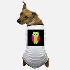Pink and Green Owl Black Background Dog T-Shirt