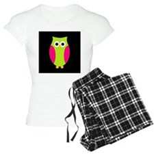 Pink and Green Owl Black Background Pajamas