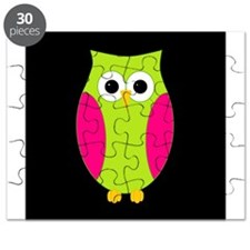 Pink and Green Owl Black Background Puzzle