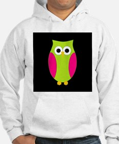 Pink and Green Owl Black Background Hoodie