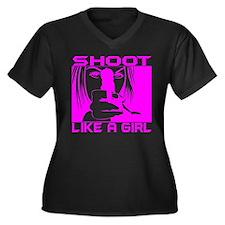 SHOOT LIKE A GIRL Women's Plus Size V-Neck Dark T-
